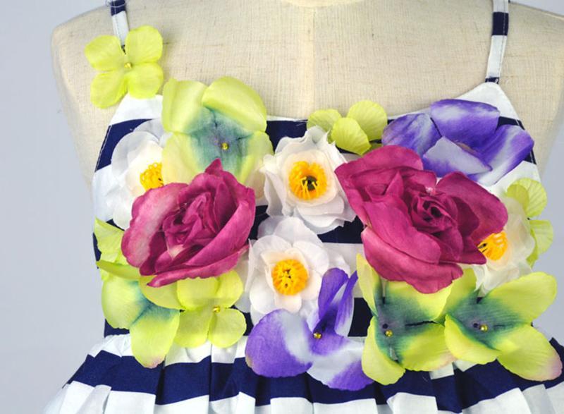 Stereoscopic Flowers Braces Skirt Girls Floral Dress Striped Maxi Dress Pleated Vest Skirt Suspender Skirt Summer