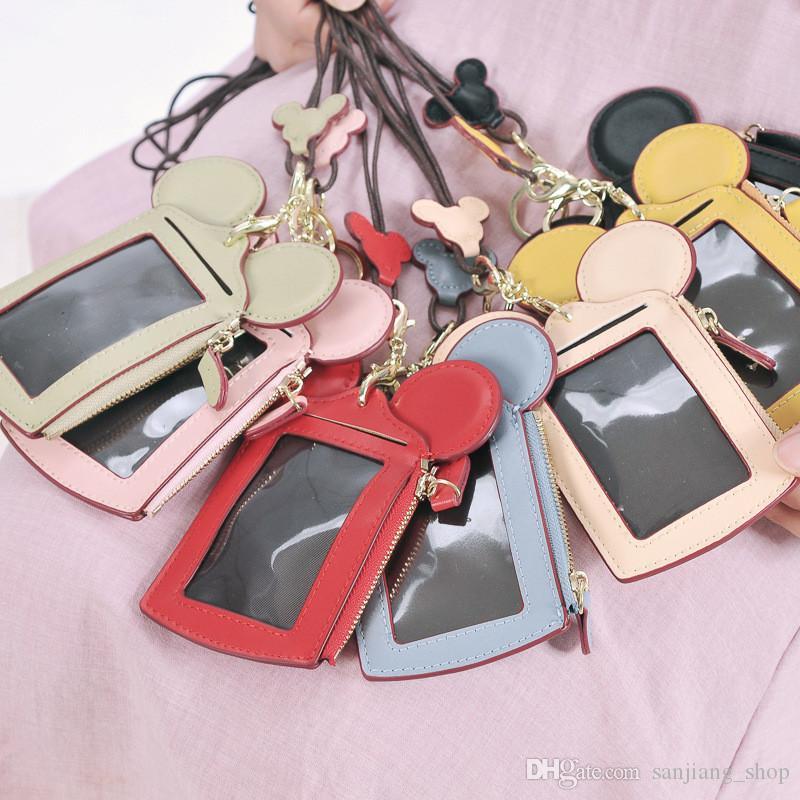 felice cartone animato orecchie da sogno porta carte d'identità tracolla cordino nome portamonete portamonete
