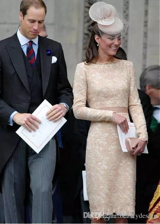 Élégant Kate Middleton Champagne Robes De Soirée Courtes pour les Femmes Porter Longueur Au Genou Dentelle À Manches Longues Celebrity Cocktail Robes Formelles