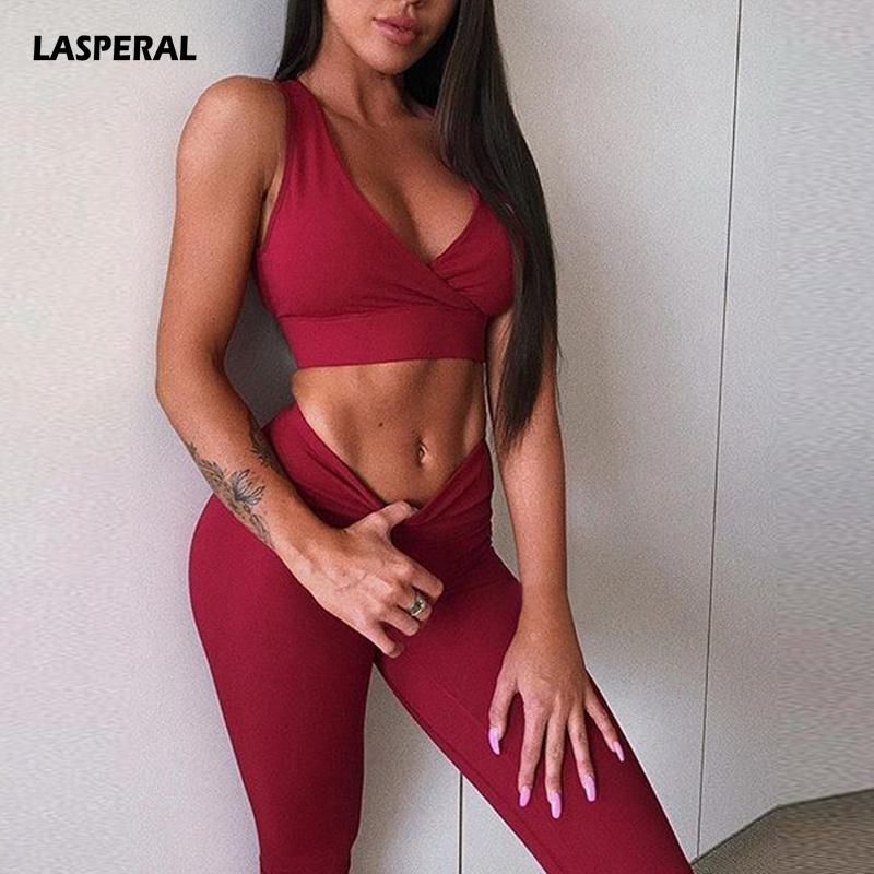 9e634abca7b32 2019 LASPERAL Sexy Red Black Solid Women Yoga Set Gym Fitness Jogger  Running Set Push Up Sports Bra+Leggings Tracksuit Slim Sportwear From  Cumax