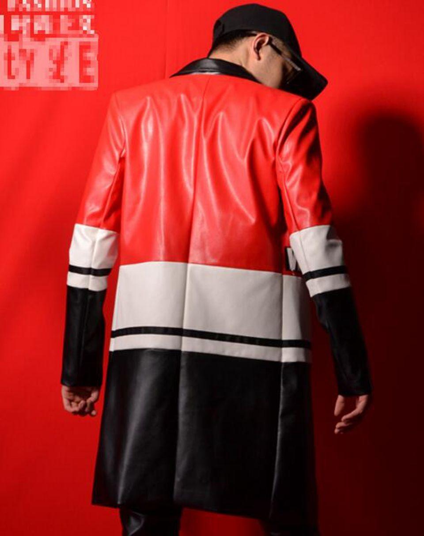 Человек Хань издание новой моды личность якорь бар певица сценические костюмы танец платье в три цвета шить длинные PU костюм M-2 xl
