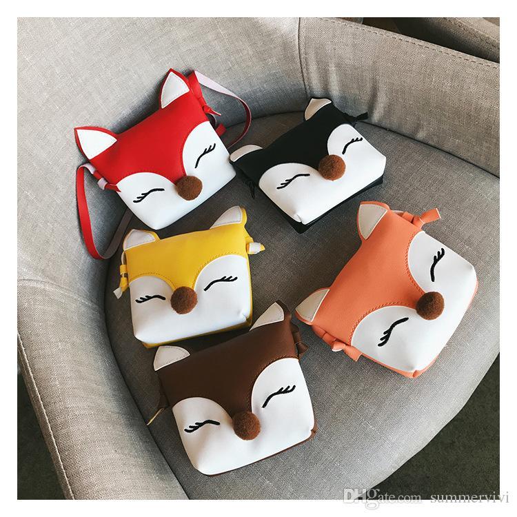 2018 New children messenger bag girls cute pompon fox shape purse kids stereo fox ear crossbody bag children cartoon package YA0051