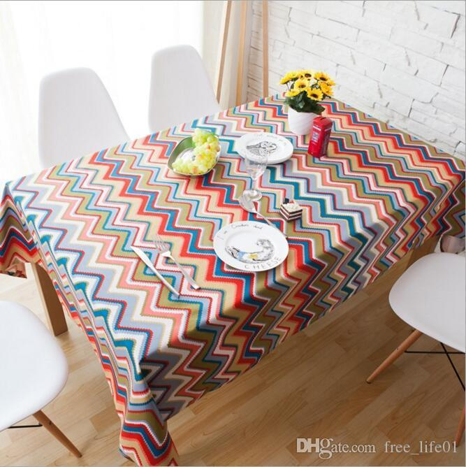 Newly Canvas Tablecloth With Boho Stripe Table Cloth Art Dinner Table Cloth  Home Decoration Simple Table Cover For Wedding Party Cloth Tablecloths  Wedding ...