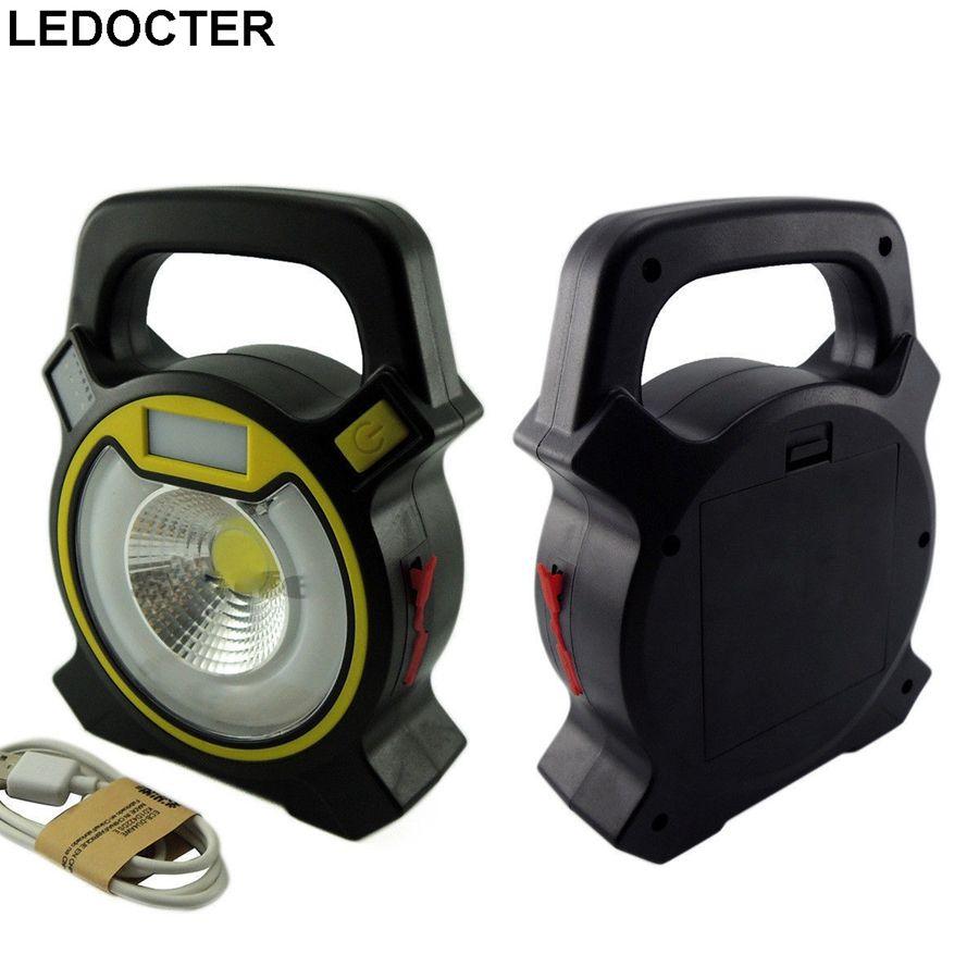 High Bright 15W Rechargeable USB COB Portable LED Flood Light Hand  Flashlight Outdoor Garden Work Spot Lantern Lamp+Bule /Red Flash Light