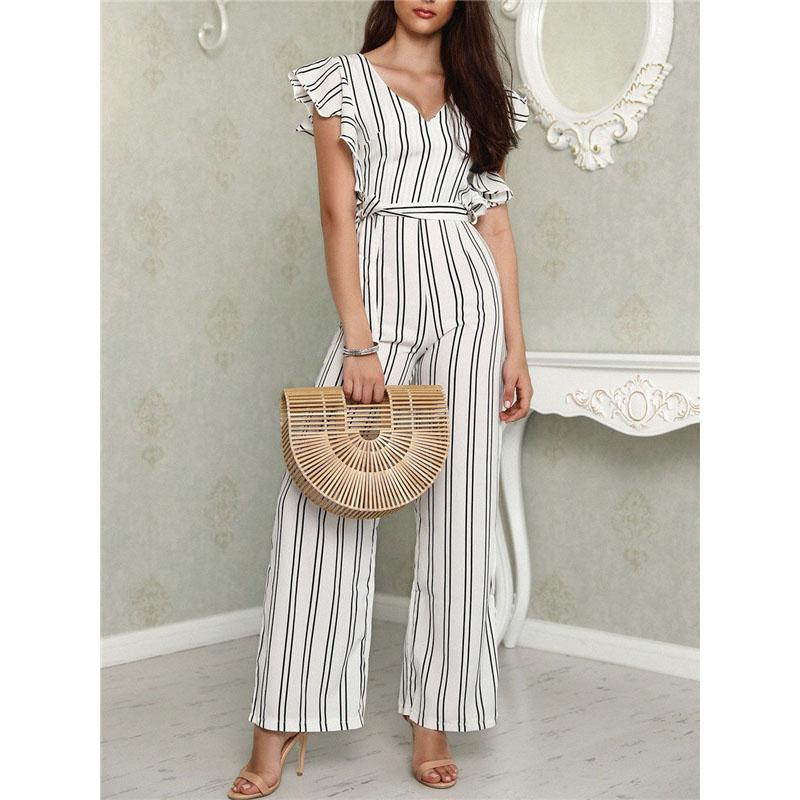 Women's Clothing Collection Here Rompers Womens Jumpsuit Summer Casual Wide Leg Pant Sets 2019 New Fashion Elegant Floral Short Sleeve Cape Jumpsuit Long Pants Suits & Sets