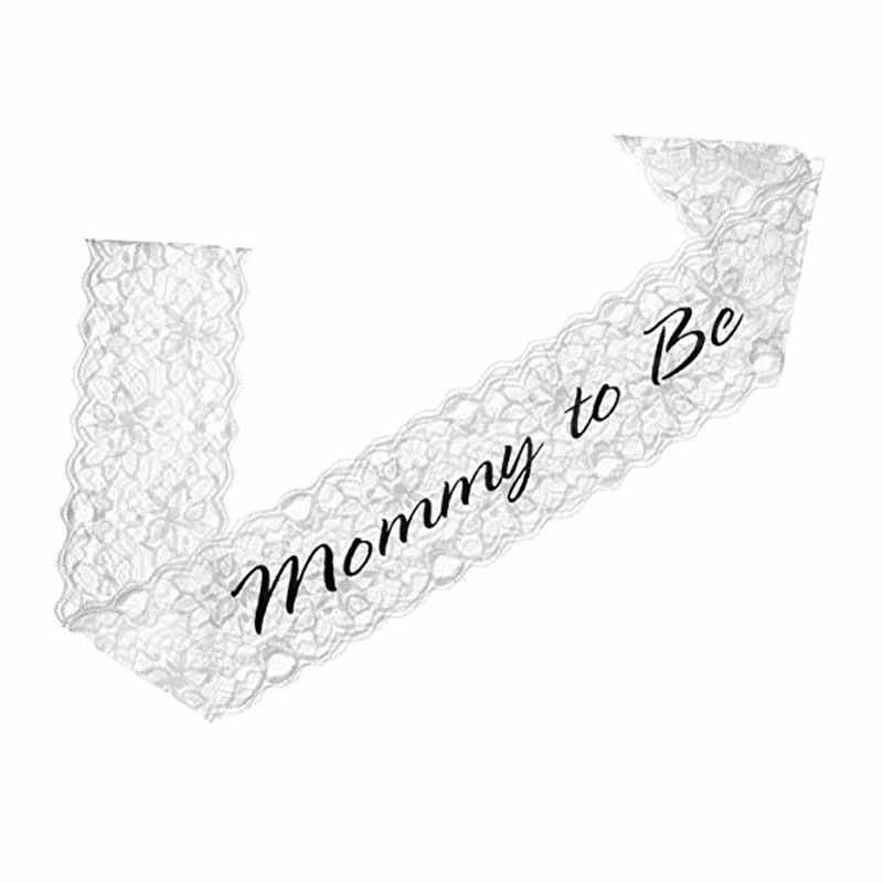Lace Mommy to Be Sash Baby Shower Newborn boy girl banner for the Mom to Be Gender Reveals Party Decorations Gift white black