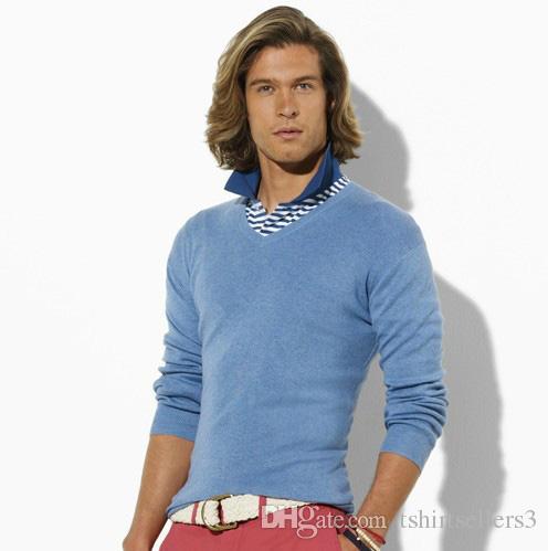 2018 무료 배송 V 넥 남성 폴로 스웨터 브랜드 스웨터, 드롭 배송비 100 % Cotton Pullover