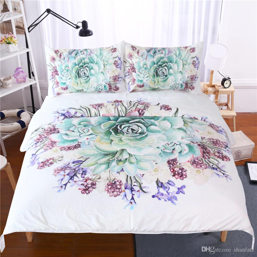 Free shipping Gift beautiful succulent plant flower pattern bedding set duvet Quilt Cover with 2 pillowcase Twin full Queen King size