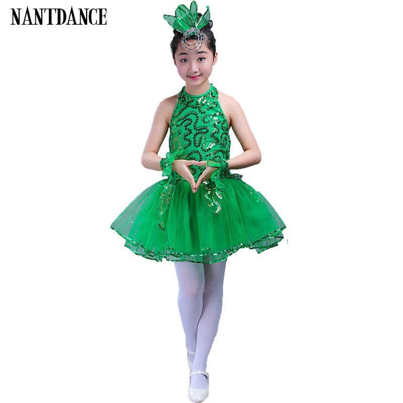 eae56203 Compre Vestido De Ballet Verde Para Niña De Niños Trajes De Baile De Jazz Para  Niñas Chica De Baile Rendimiento Disfraz Etapa Dancewear A $20.38 Del  Tielian ...