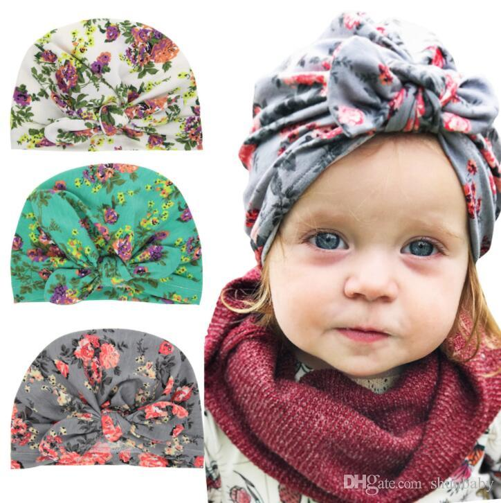 2be236514068ae Floral Baby Girls Hats Rabbit Ear Caps Children's Spring Autumn Hats ...
