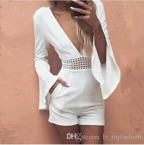 b2f3a2baacbe 2019 2018 Women Summer White Short Sexy Rompers Jumpsuit Deep V Neck Long  Flare Sleeve Beach Party Playsuits Waist Crochet Lace Overalls From  Ly topfashion