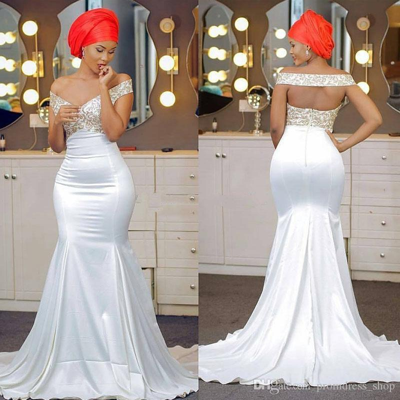 443e870fd0 Free Shipping Off The Shoulder Mermaid Prom Dresses Appliques Lace Satin  Backless Aso Ebi African Evening Dresses Sweep Train