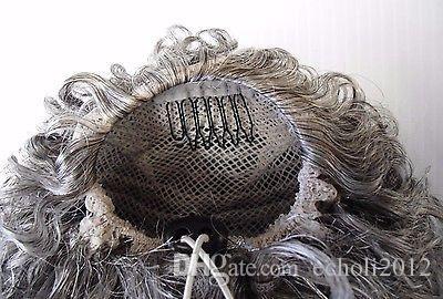 Clip di capelli naturali grigio crespi ricci coda di cavallo in grigio umano coulisse estensione coda di cavallo pony donne nere 120g