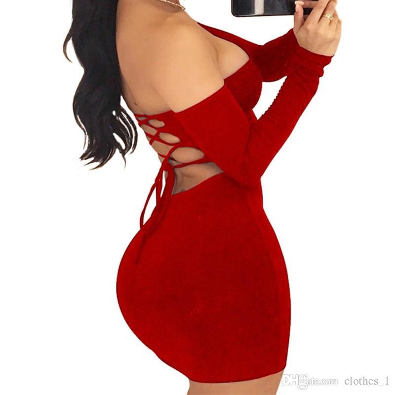free shipping d55fe 57801 donna senza spalline backless minigonna invernale manica lunga fasciatura  vestito di un pezzo di colore solido pacchetto sexy gonna dell anca 9  colori ...