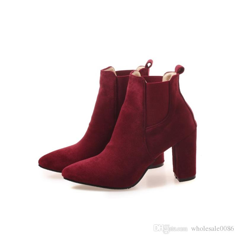 9fbd5e9317b Favofans Hot Sale Womens Ladies Solid Color Pointed Toes Shoes Chunky Heel  Fall Ankle Boots FF B898 Size Customized Sexy Shoes Boots Shoes From  Favofans