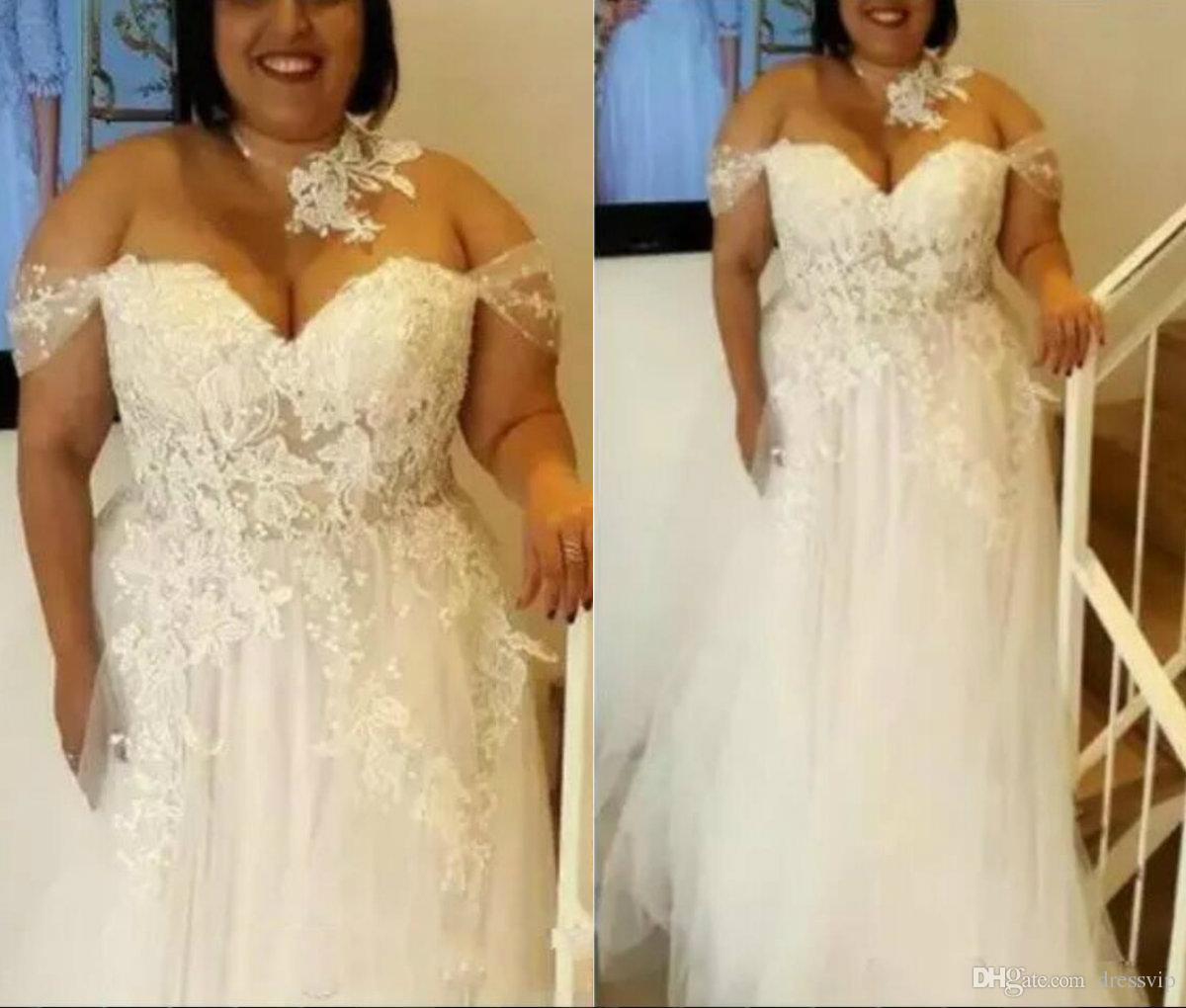 b49d666b43 Plus Size Wedding Dresses Sweetheart Sleeveless Off the Shoulder Lace  Appliques See Through Top Quality Country Beach Bridal Gowns