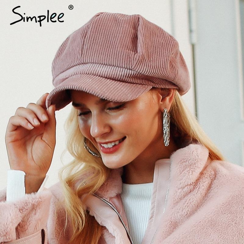 Compre Simplee Corduroy Para Mujer Casquillo Plano Sombreros Para Mujer  Moda Casquillo Boina De Estilo Casual Boina Feminina Otoño Invierno Boina  Sombrero ... 4f372b8b470