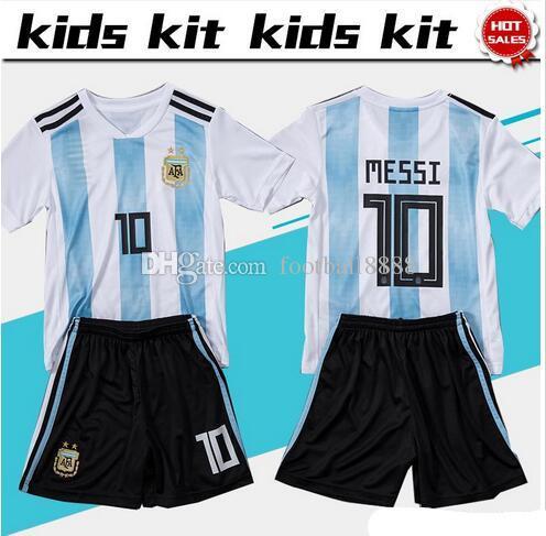 1a3e3248895 2018 World Cup Argentina Soccer Jersey Kids Kit 2018 Argentina Home ...