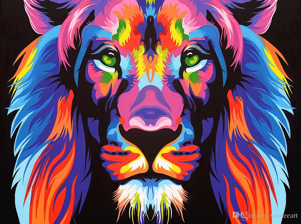 Satın Al Modern Renkli Aslan Kafası Hayvan Aslan Yağlıboya Ev Tuval