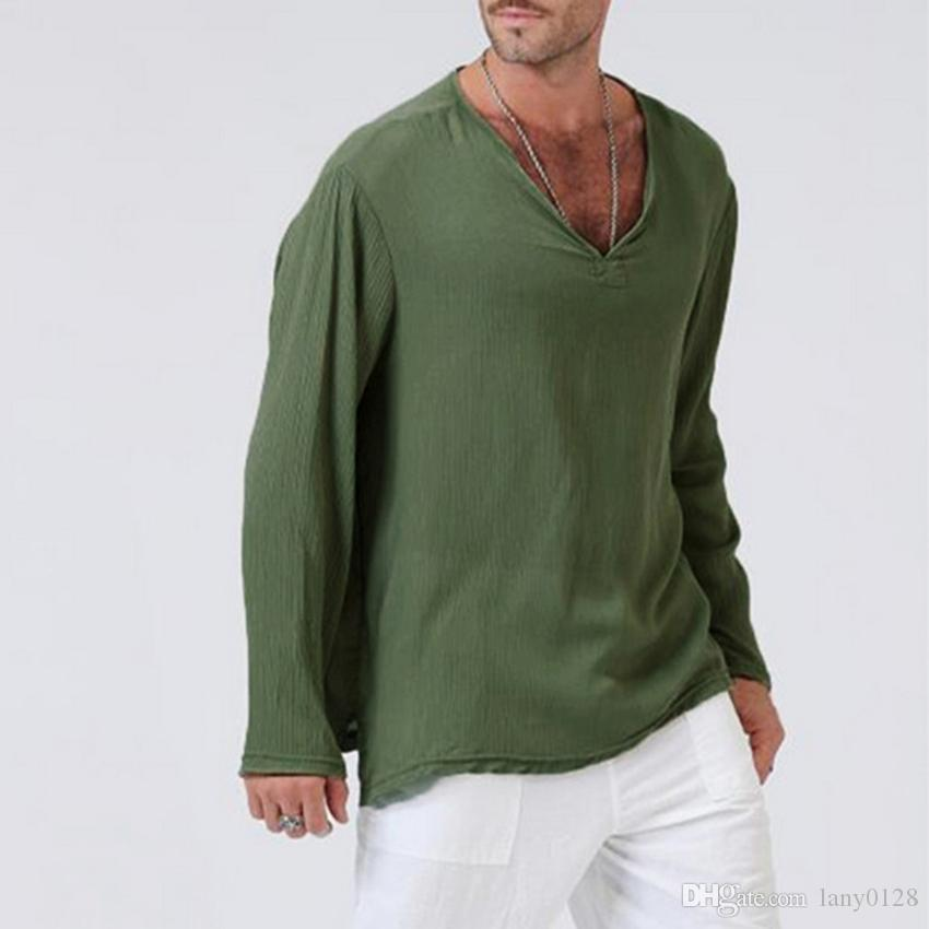 c623d92a4ddf Casual Cotton Linen Hipster T Shirt Men Long Sleeve Casual Deep V Neck T  Shirt Top Funny Screen Tees Shirts With Design From Lany0128, $30.93|  DHgate.Com