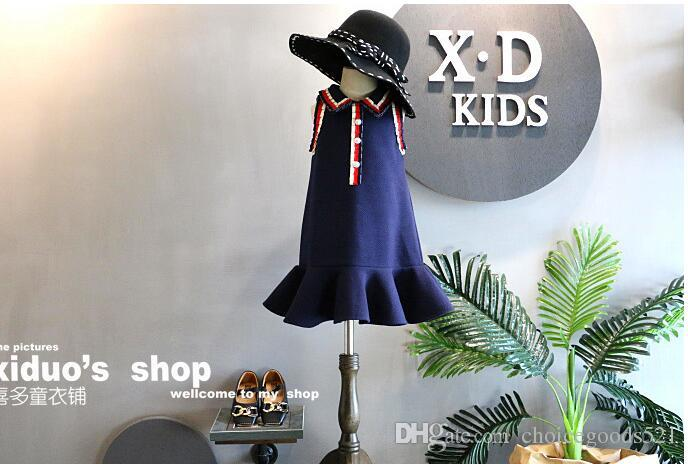 Children's Garment 2018 Spring Clothes New Product Girl Lady Of Quality The Wind Hit Color Crushed Lapel Vest Skirt Fish Tail Skirt Temperam