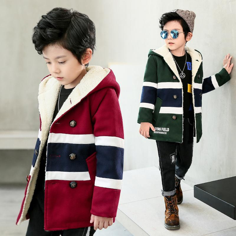 5bbaa05b47 JENYA Children's Clothing Boys Winter Fashion Plus Velvet Outerwear Thick  Patchwork Coat Kids Warm Fleece Hooded Jackets DW237