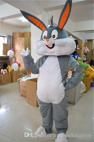2018 Factory direct sale gray mascot Rabbit Hare Adult Fancy Dress Cartoon Suit Fancy Dress free shipping