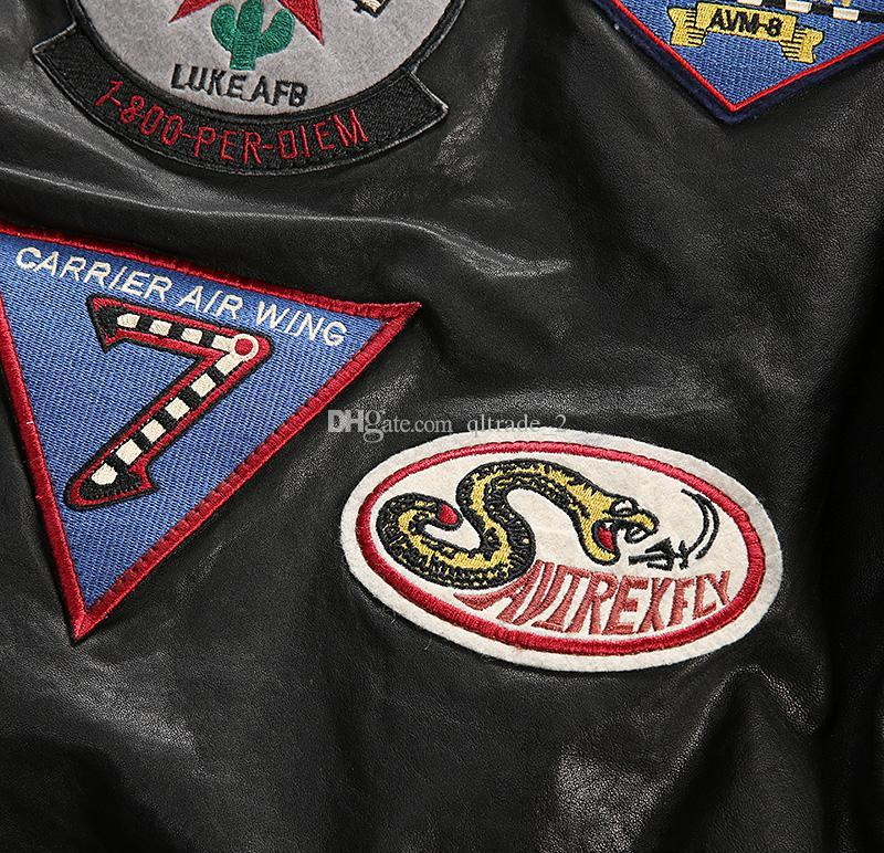 CARRIER AIR WING Bomberjacken AVIREX FLY Beflockung Lederjacken Baseballuniform 41 ACES