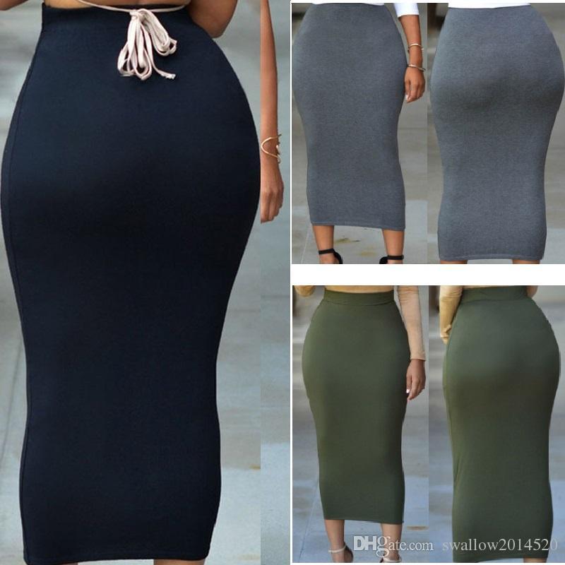 dbcf7641f3 2019 Long Polyester/Spandex Maxi Skirt Women Casual Slim High Waist Bodycon  Pencil Elastic Skirt Stretchy Saias Femininas Skirt Navy/Grey/Green From ...