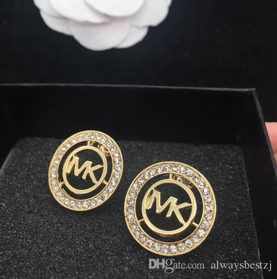 Fashion Double Layers Hollow Letters M Ear Studs Clear Crystal Rhinestone  Earrings Gold Silver Plated Earring Women Girl Wedding Jewelry Hollow Letters  M ... 98818a2b3564