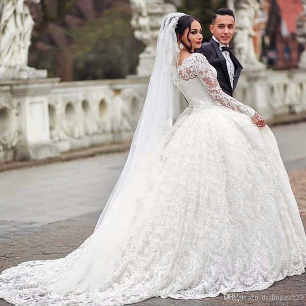 Ball Gown Wedding Dresses White Bateau Neckline Lace Long Sleeve ...
