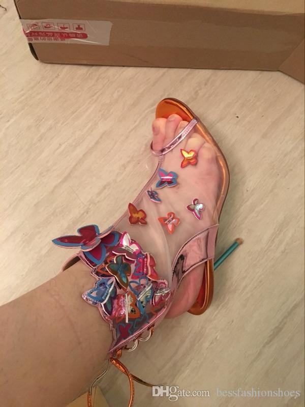 صوفيا ويبستر الوئام شبكة 3D الفراشة Bootie روزا / الفيروز / برتقالي عالية الكعب المرأة الصيف زقزقة اصبع القدم الصنادل الأحذية