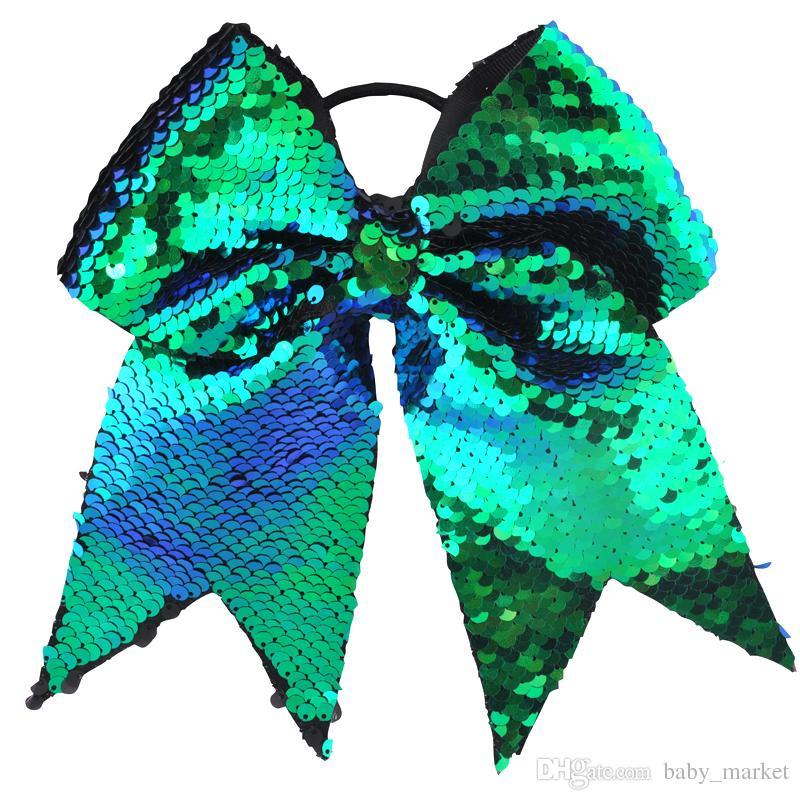 8 Inch Double-faced Mermaid Sequins Large Cheer Bow Elastic Hair Band Grosgrain Ribbon Cheerleading kid Girl Hair Accessories