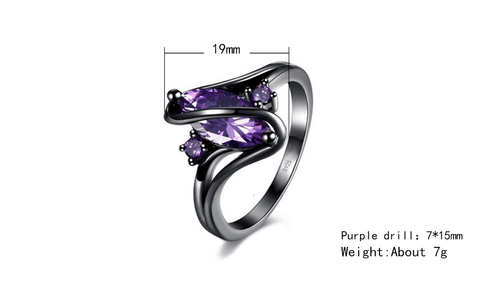 New Hot Fashion Luxury Vintage Purple Zircon CZ Crystal Colorful Rings For Women Wedding engagement Jewelry rings R319
