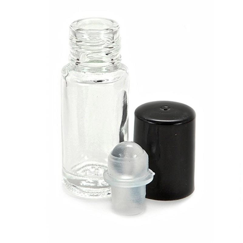 5ML 5G Clear Roll On Bottle Essential Oil With Glass Roller Ball Black Cap Fragrance Perfume Roll-on Bottle