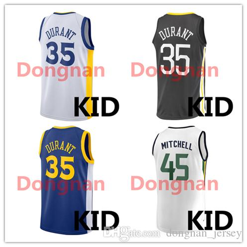 692409e99fb1 New 2018 19 basketball Youth kid Jersey 35 Kevin Durant 45 Donovan ...