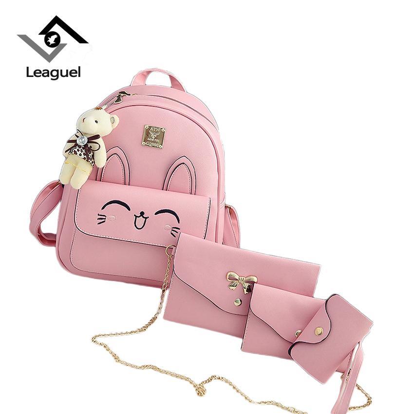 Wholesale  set Women Backpacks Schoolbag Printing Cute Cat School Bag  Backpack For Teenager Girls Green Rucksack Shoulder Bag Online with   66.55 Set on ... fb987107f887b