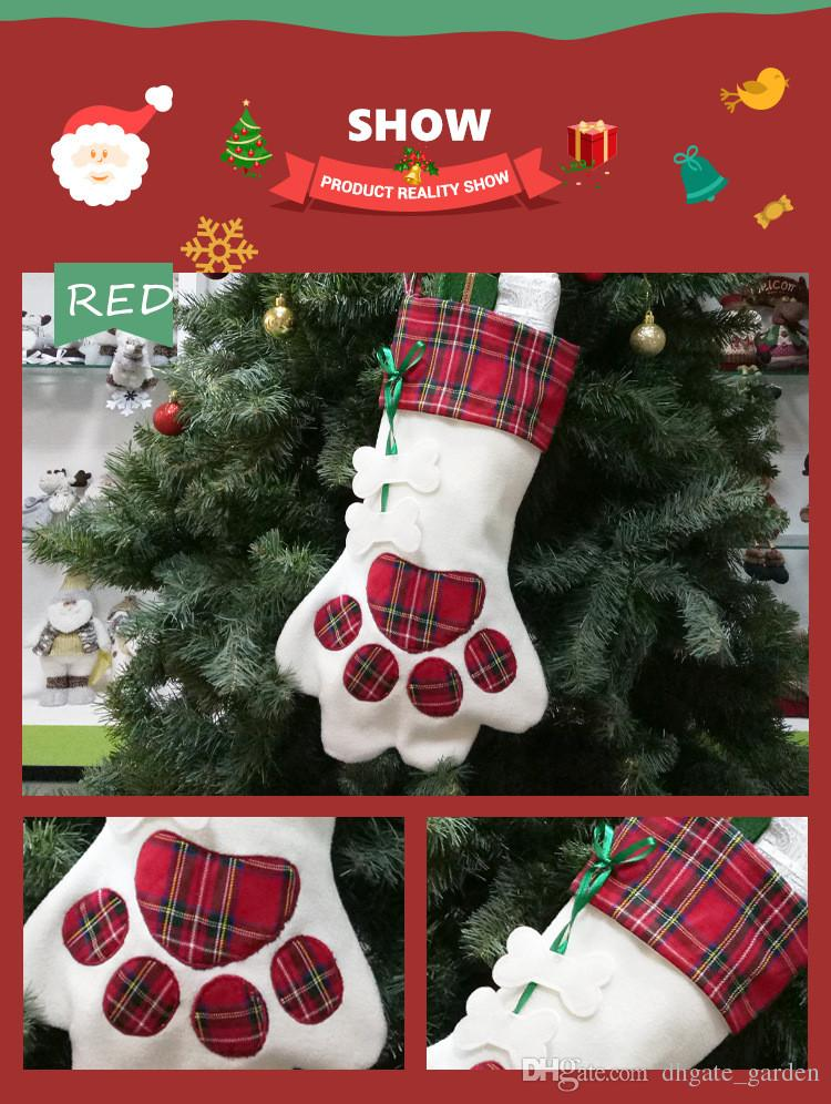 christmas stocking pet dog paw gift bag plaid xmas stockings christmas tree decorations party decor creative christmas sock christmas decor for home