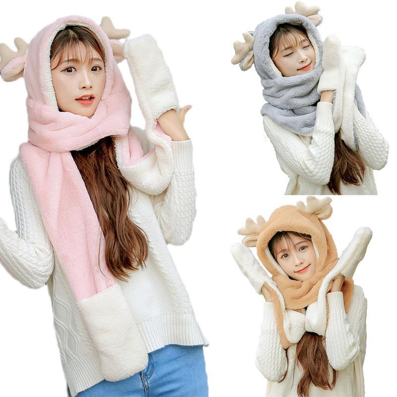 Winter Thickened Scarf Set Set 3-In-1 Scarf Hat Gloves Winter Warm ... 618b20e522ad