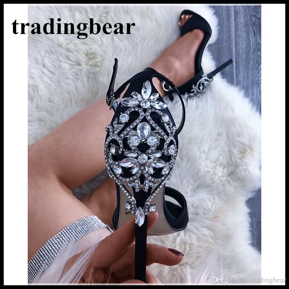 8b85ac5828f0 Luxury Wedding Shoes Glitter Rhinestone Ankle Strap High Heels 2018 New  Designer Shoes Size 35 to 40 Shoes Women High Heels Luxury Shoes Designer  Shoes ...