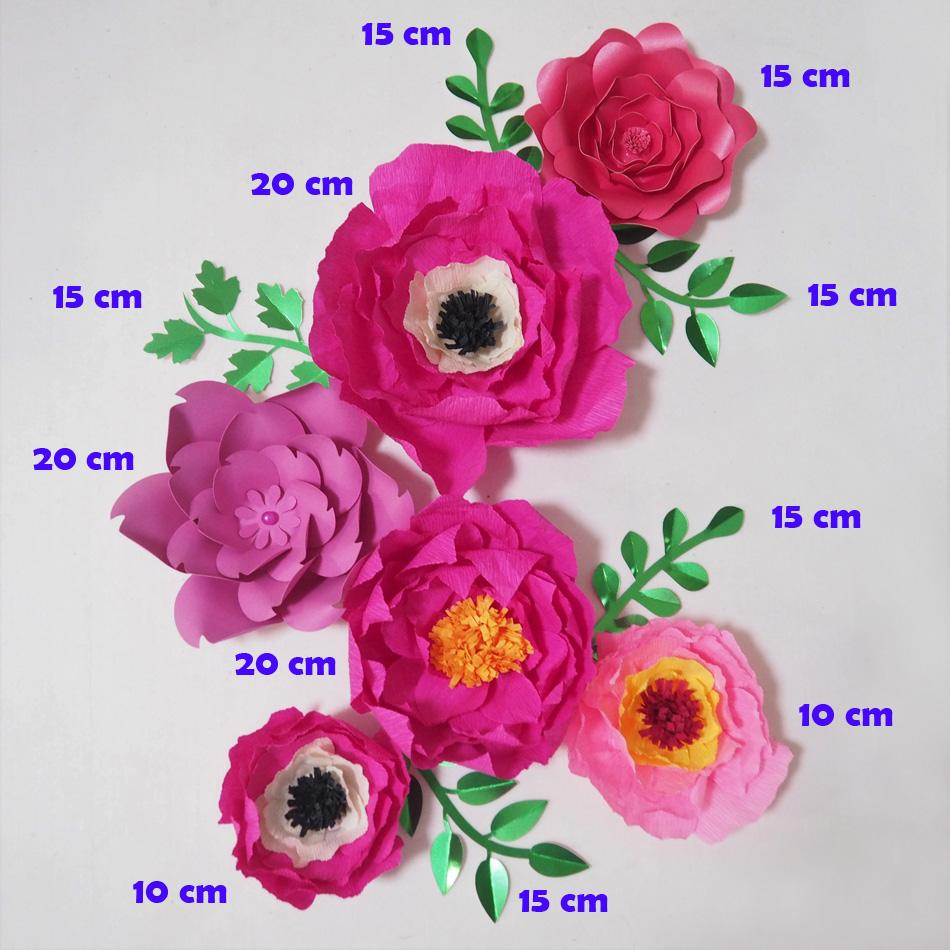 Giant Crepe Paper Flowers Artificial Flores Artificiale 5 Leaves For