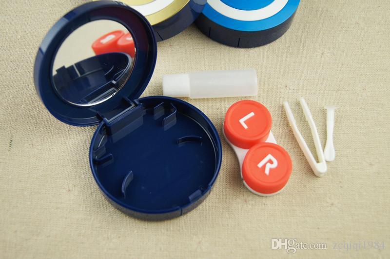 حار بيع حالة العدسات اللاصقة ميدالية مع مربع العدسات اللاصقة مرآة البلاستيك مع مربع مستحضرات التجميل