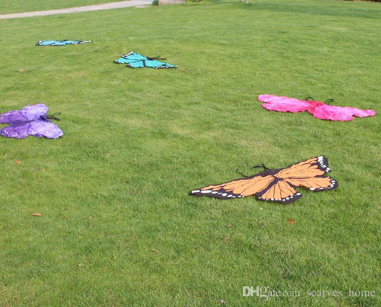 Çocuklar Kız Prenses Pelerin Peri Kelebek Kostüm Kanatları Monarch Şifon Çocuk Fantezi Cape Elbise Hediye Festivali Pixie Cosplay Şifon Eşarp