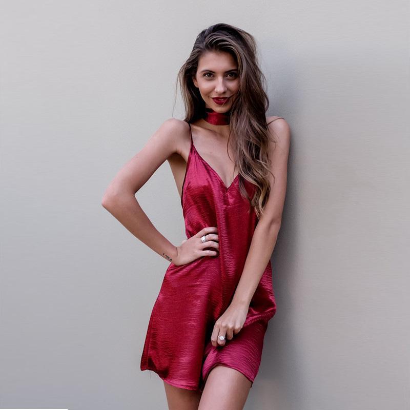 6128dcab5b35 2019 Nightwear Deep V Stain Sleeping Dress Summer Mini Outwear Club Dress  Wine Lace Nightgown Pijama Silk Robe From Blueberry16