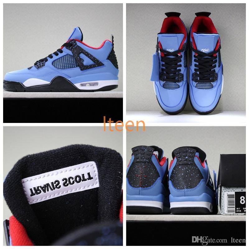 30442735344d88 2018 Cheap Sale 4 4s Travis 4 4s Kaws Cool Blue Glow Mens Basketball ...