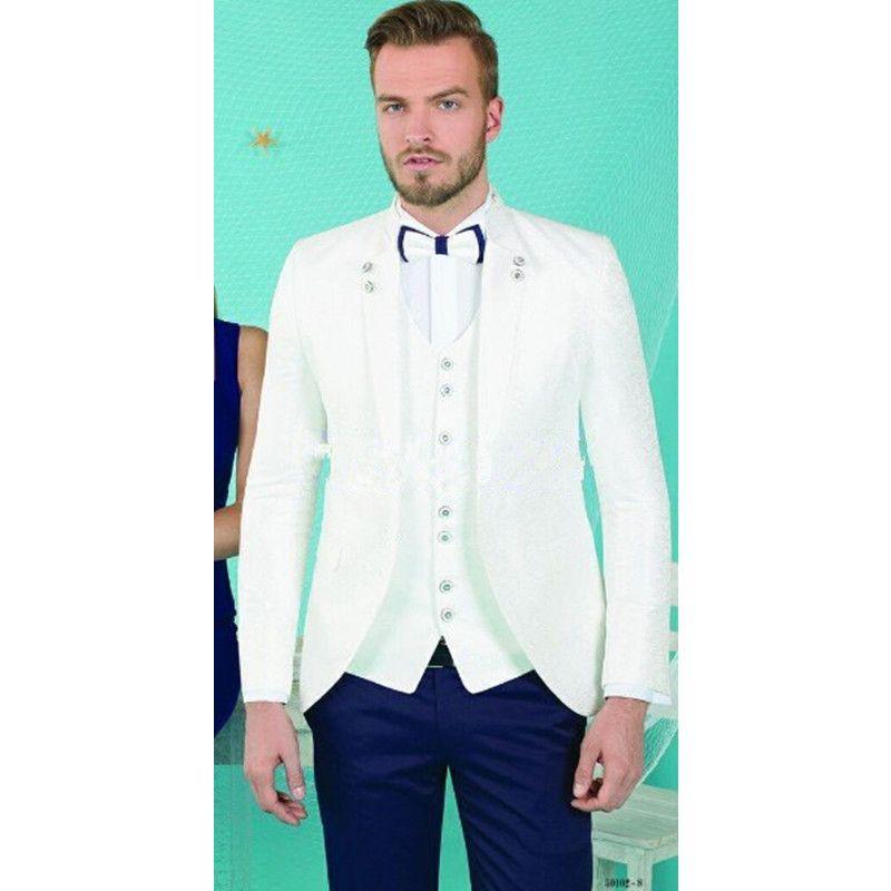 2019 Groomsmen Groom Tuxedos White Coat Men Suits 2017 Prom Dinner