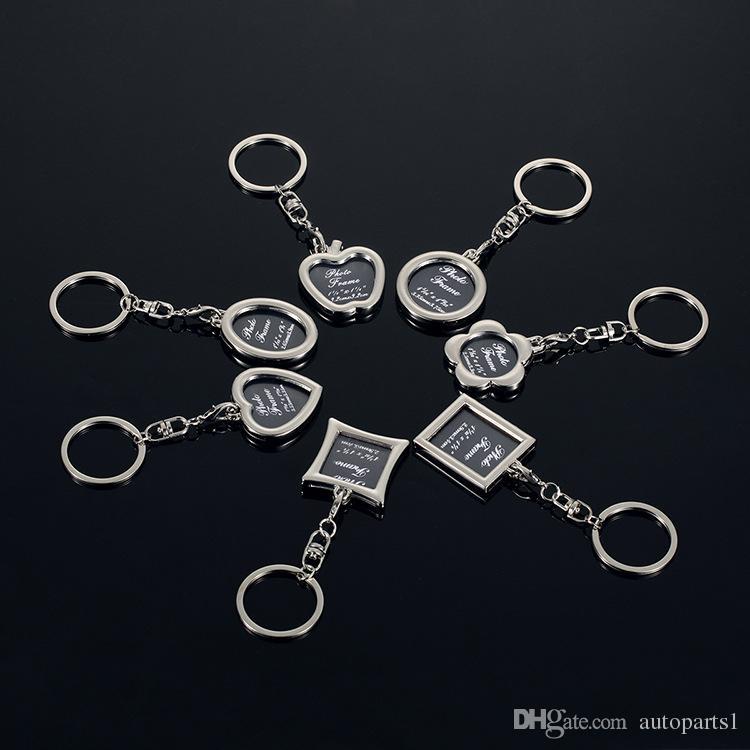 2018 marco de la foto de la forma redonda del corazón de Apple oval Rombo aleación de metal Llavero Llavero de coches Llaveros Parejas llavero regalo de empresa