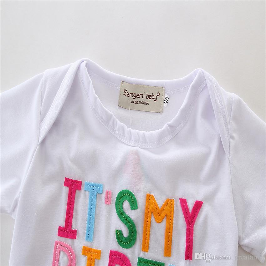 Baby girls outfits It's my birthday children gift white T-shirt tops+tutu shorts skirts girl's clothing set