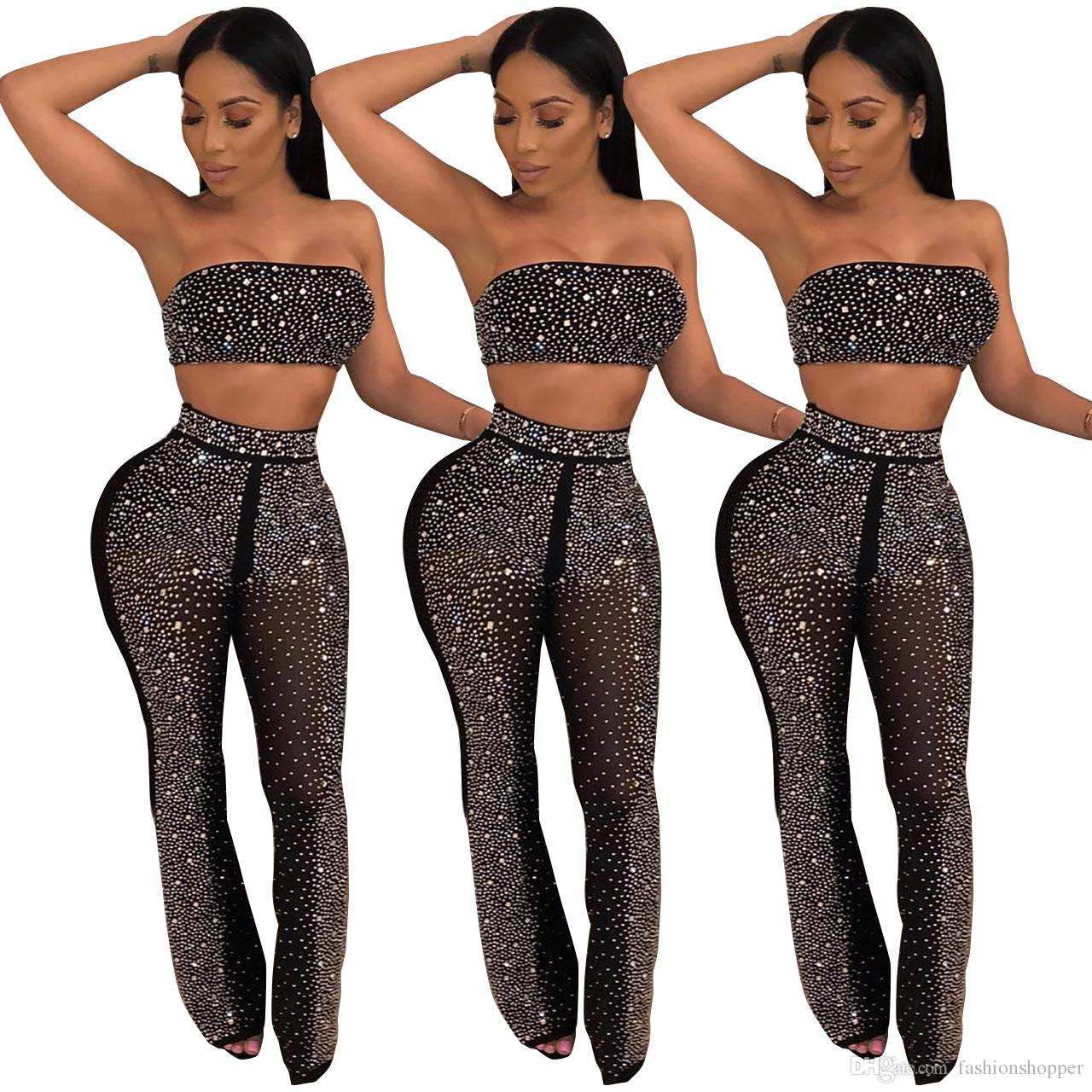 2019 Sparkly Rhinestone Sexy Set Women Off Shoulder Strapless Crop Top+See  Through Pant Elegant Outfit Two Piece Suit Clubwear From Fashionshopper 7a47c6707cd9