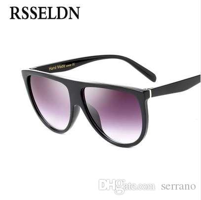 6da099eac1 RSSELDN New Black Clear Oversized Square Sunglasses Women Gradient ...